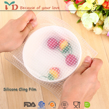 Best Seller Cling Film/ Stretch Lid/ Silicone sealing cover for Bowls Silicone Food Wrap, Stretch Lid