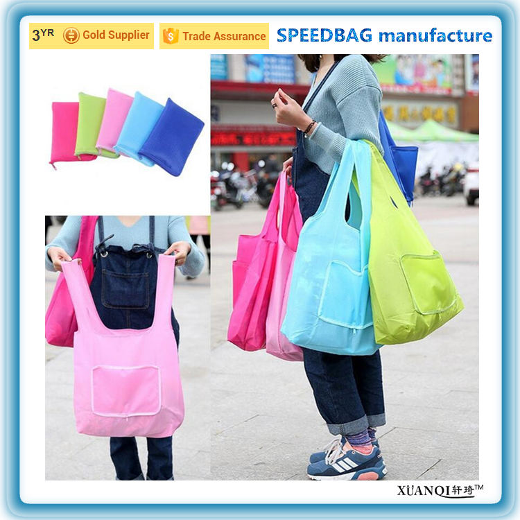2016 hot sale mixed colors polyester phone shape durable foldable shopping tote bag