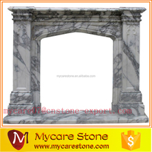 Western styled white Italian marble fireplace mantel