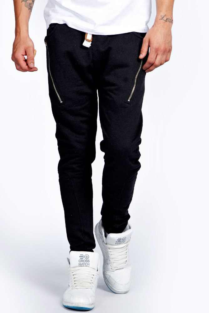skinny 100% polyester sweat pants with side zips for men
