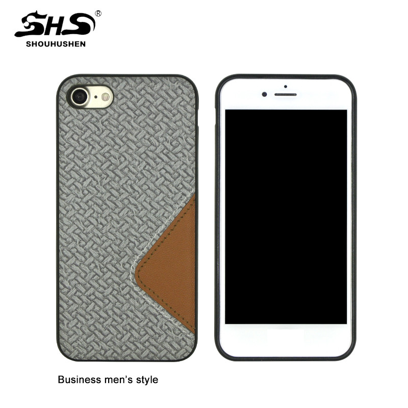 SHS Matt Effect PC Slim Wooden and PU Leather Cell Phone Case for Samsung S7