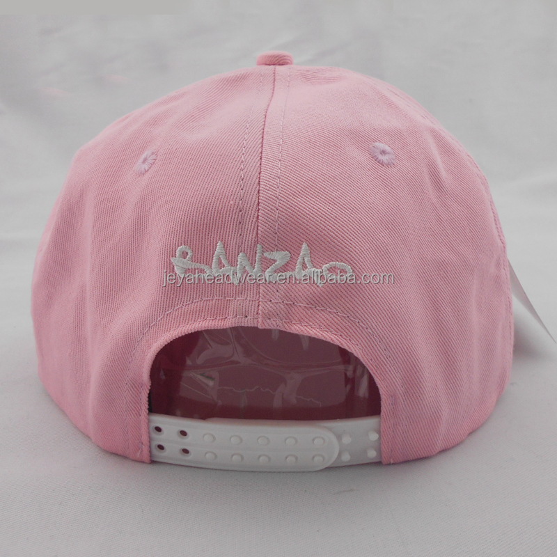 Double row plastic buckle embroidery winter hats pink fashionable snapback caps for girls
