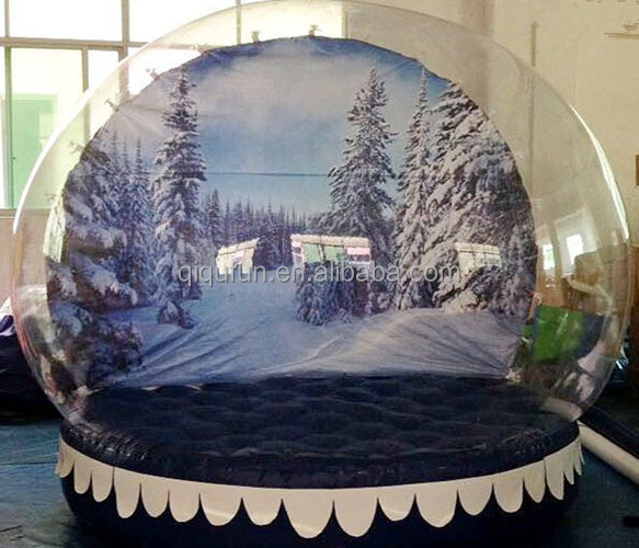 Popular High Quality Giant musical snowman snow globe, 4M inflatable snow globe, snow globe with blowing snow