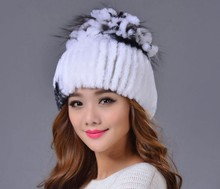 2017 Fashion Design Handmade Knitted Real Rex Rabbit Fur Winter Peaked Cap
