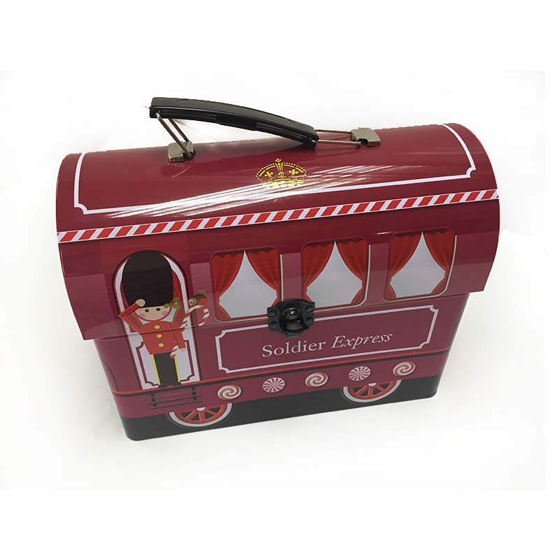 Metal lunch tin boxes with handle and lock lunch box for kids wholesale tin lunch box