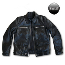 Classical black leather pilot jacket for men