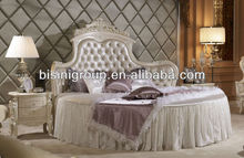 Royal French Style Round Queen Bed Double Bed in White BF11-0110a