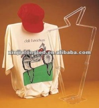 Acrylic Plastic T Shirt Display Stand Acrylic T Shirt and Cap Display Frame