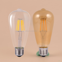 CE rhos ceiling decorative ligth 2w 4w 9W 6w 8w glass edison bulb energy saving edison style b22 e27 led filament bulb ST64