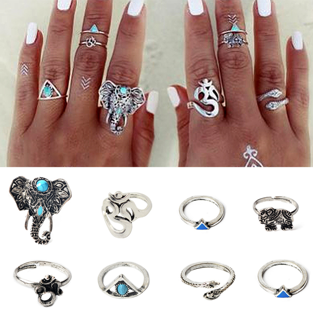 8PCS Vintage Beach Punk Elephant Moon Arrow Ring Set Ethnic Carved Antique Silver Plated Snake Finger Ring Knuckle Charm