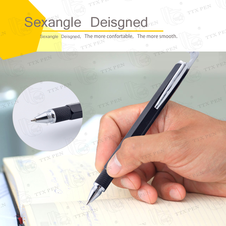Multifunction Hexagonal ballpoint pen with Mobile Phone Holders