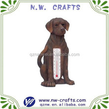 Polyresin Labrador animal statue resin outdoor thermometer