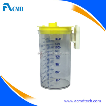 Yellow Color Medical Suction Bottle With Ohmeda Gas Outlets