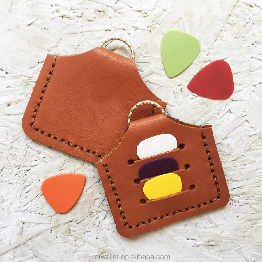 Gorgeous little gift custom logo handmade leather plectrum holder keyring