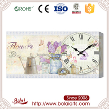 Old fashioned canvas paintings picture design mdf wall clock for exhibition hall