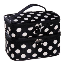 Wanban Promotional Double Layer Dots Printed Cosmetic Bag