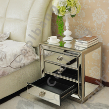 Exellent design target silver glass mirrored bed side table with 3 drawers