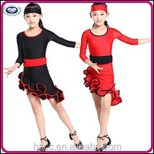 Newest Style Children's Cha-cha Dance Ballroom Dancing Girl Latin Costume (Red, Black)