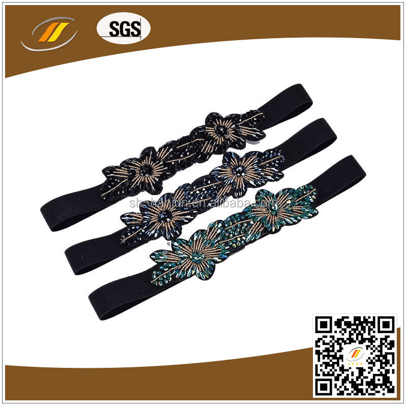 Shiny Beads Decoration Elastic Wide Dress Belt