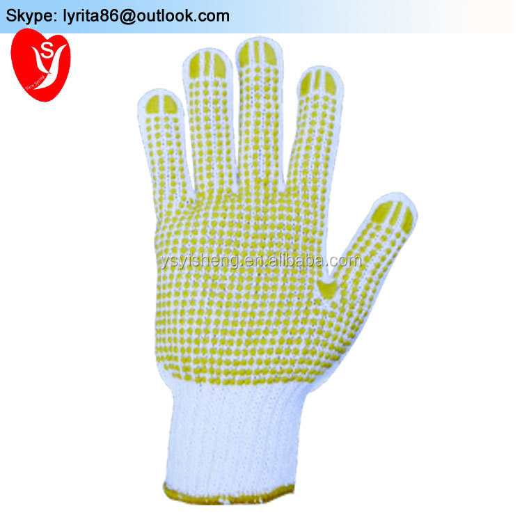 Comfortable knitted gloves with protective coating on the palms, with wide elastic band