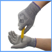 HPPE fiber PU palm coated level 5 anti cut and puncture resistant gloves used in Packaging industry
