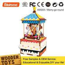 Robotime DIY Carousel Music Box Wooden Gifts for Kids