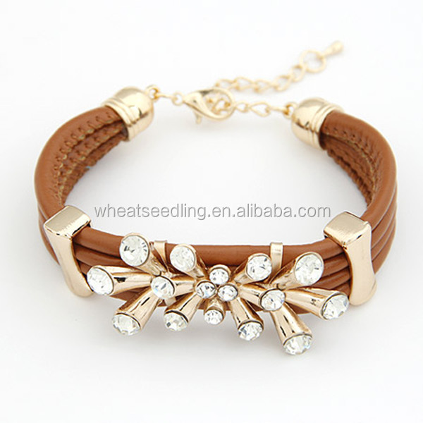 Fashion moroccan jewelry multilayer leather bracelet