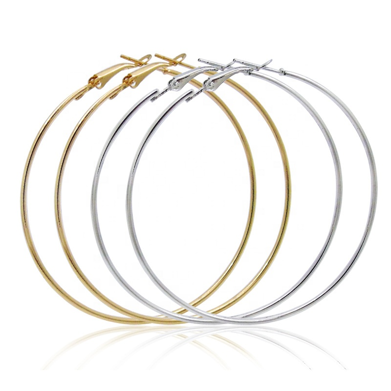 Fashion Women Alloy Round Shape Rose Gold Simple Big Hoop <strong>Earrings</strong>