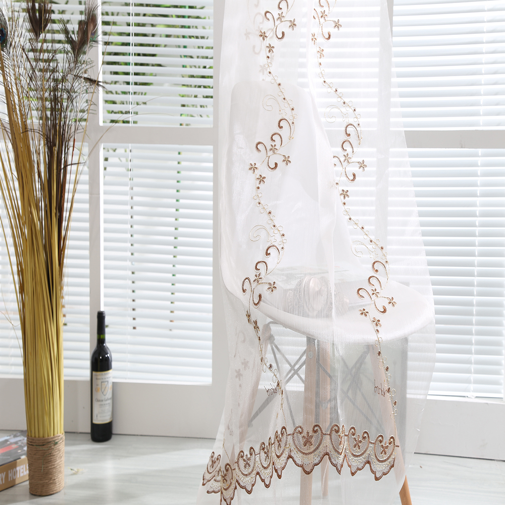 2015 New trend organza sheer drapery fabric embroidery door curtain for home decor interior decorating