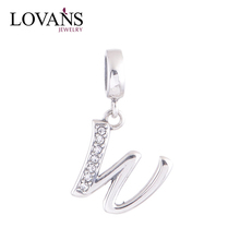 High Quality Fine Jewelry Supplier 925 Sterling Silver Jewelry Charm W Alphabet Letter Charm