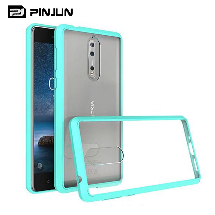 Candy color tpu frame acrylic crystal clear phone case for nokia 8 cover