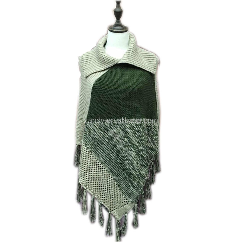 wholesale adult 100% acrylic mix colored crochet knitting long tassel pullover shawl women poncho wraps