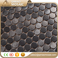 Hot Selling Black Matt Surface Tile Metal Penny Round Mosaic