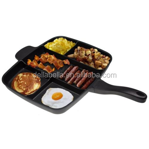 Non-stick Divided Grill Fry Oven Meal Skillet Frying Pan Black Master Pan