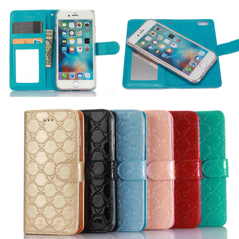 Charming Lovely Heart Pattern Leather Wallet Cell Phone Case for iPhone 7 with Mirror Card Slip