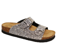 Women Two Strap Comfort Silver Glitter Sandals Slippers Cork Shoes
