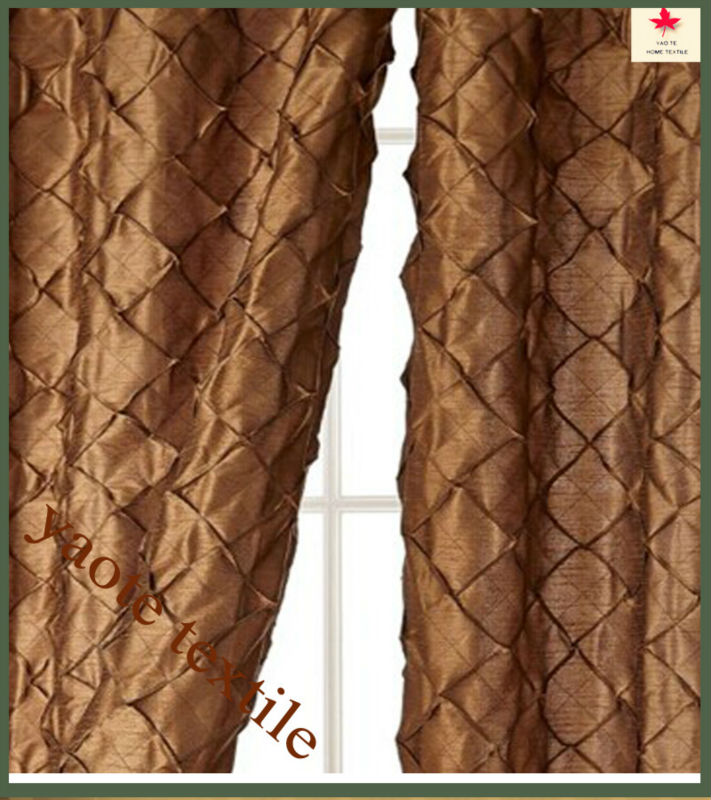 faux silk dupion curtain lined & rod pocket for window curtain