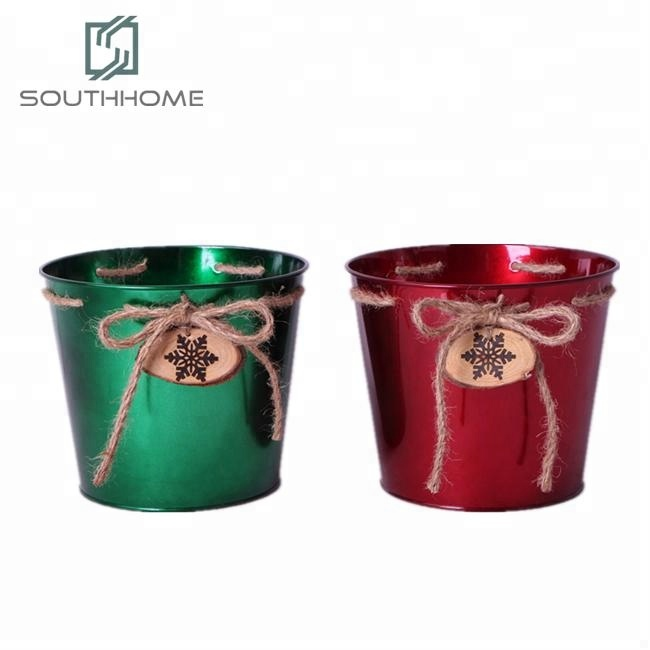 Christmas Holiday Home And Garden Mini Metal Flower Pots