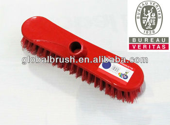 HQ0005 plastic scrub deck brush w/ long wooden handle in hard bristle