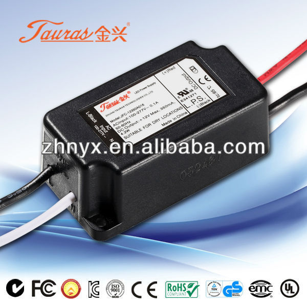 350ma Constant current 2 to 12Vdc 4.2W IP67 Plastic Waterproof LED Driver JAC-12350A016 Tauras