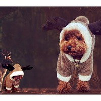 Cute Reindeer Deer Elk Design Dog Christmas Clothes Jerseys Pet Costume Puppy Jumpsuit Outwear Coat Apparel Hoodie for TCat