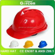 CE EN397 & ANSI Z89.1 Plastic Construction Helmet, Construction Safety Helmet with Chin Strap