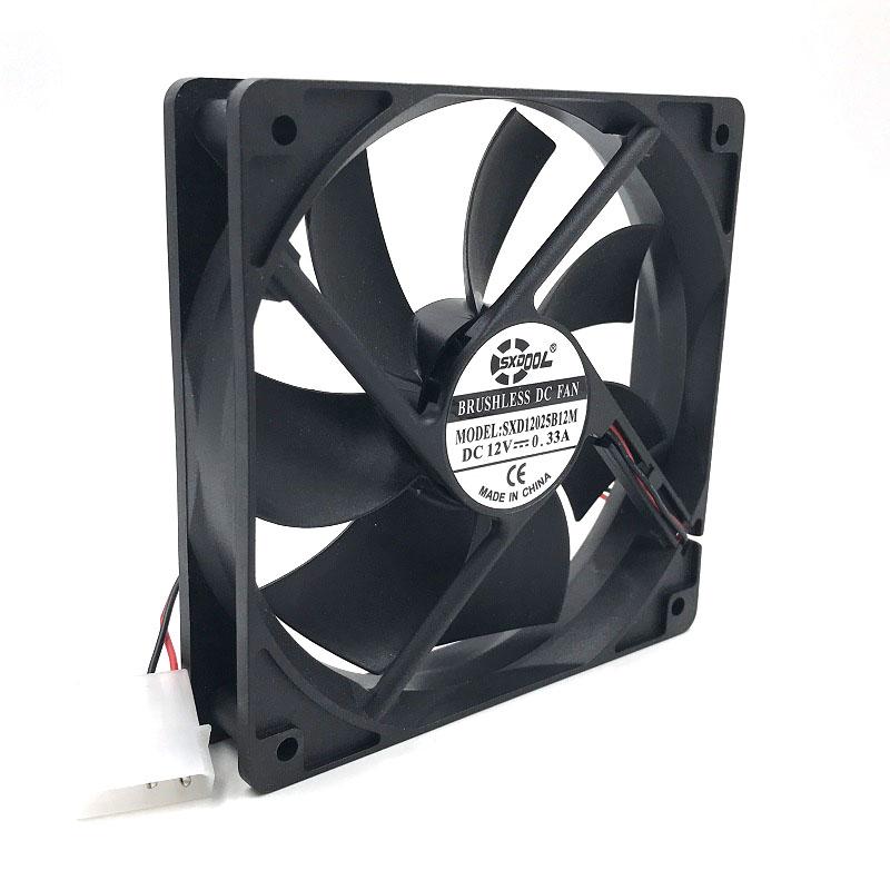 SXDOOL SXD12025B12M 12012025mm 12cm DC 12V Brushless cooling fan 0.33A 2000RPM 79CFM 36DBA 4D For server inverter case