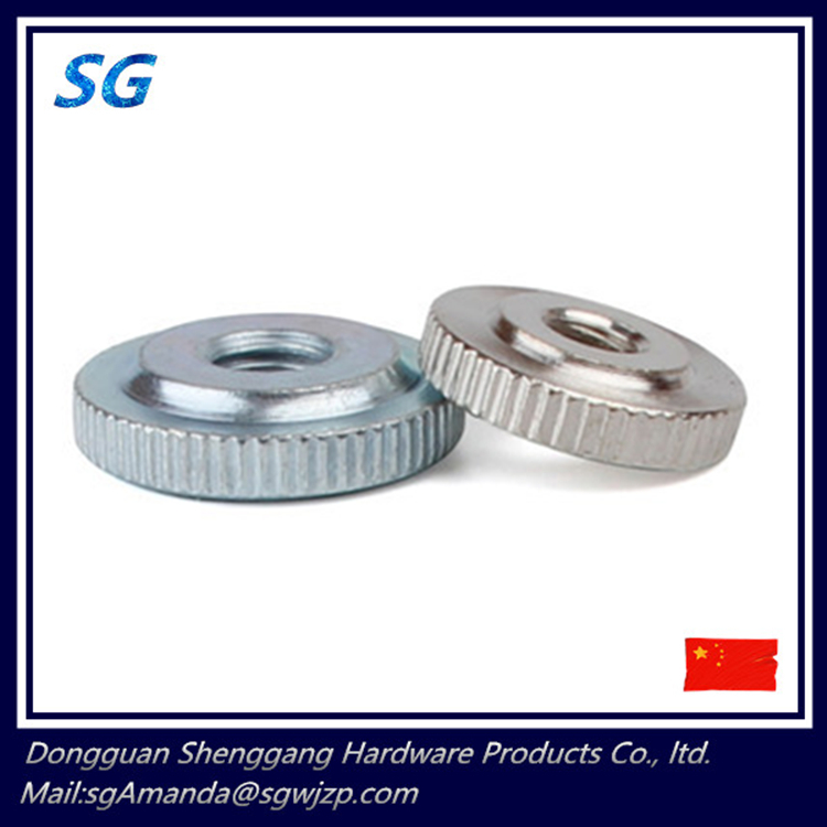 Good quality and low price M3 M4 M5 M6 M8 M10 Flat head Knurled Thin Thumb Nut carbon steel Fastener Zinc Plated