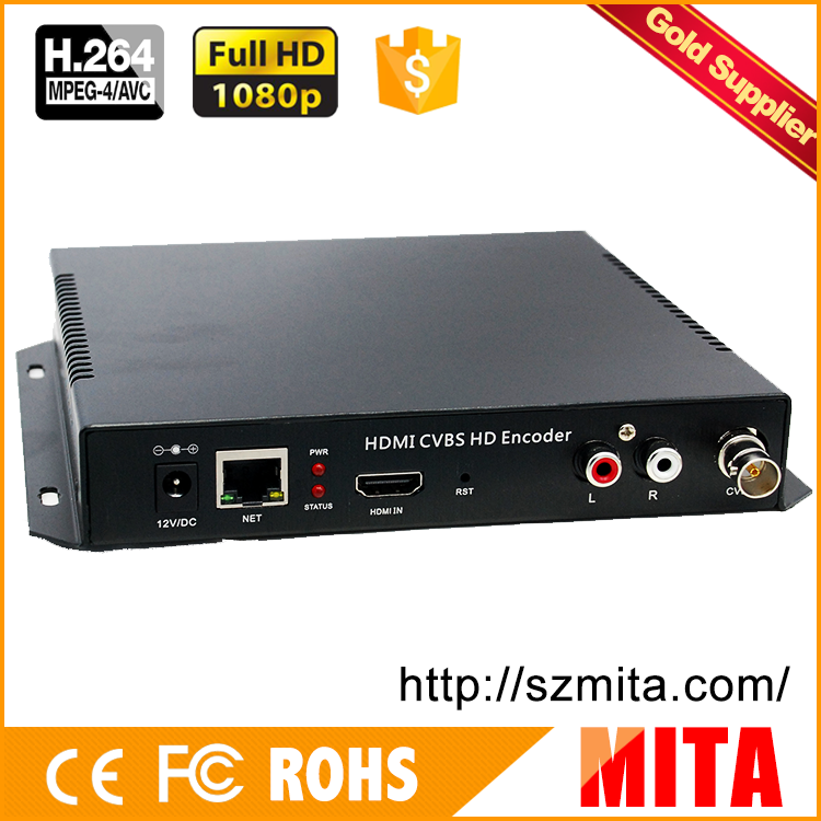 DHL Free Shipping HDMI + CVBS + R /L Audio (AV /RCA) To RTSP /RTMP Encoder H.264 For Media Wowza, Youtube, Flash Media Server