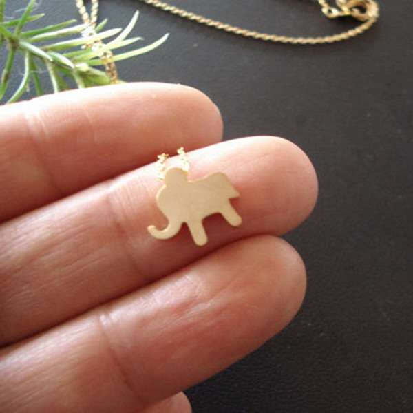 Chinese Jewelry Vendor Gold Plated Alloy Cute Mini Animal Elephant Charm Necklace Jewelry