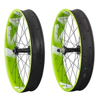 New Products Carbon Fat Bike 26er Wheelset green and white color powerway M74 hub cn spoke