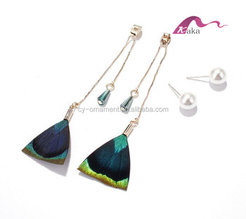 Women 925 sterling silver allergy free pearl earrings,Amazon peacock feather earrings