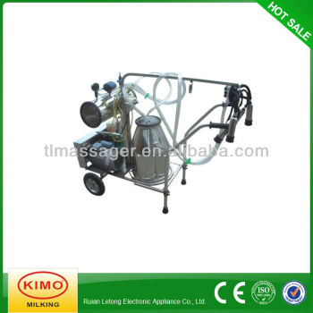 Electric Vacuum Pump Single Barreled Mobile Milking Machine With Stainless Steel Shelf