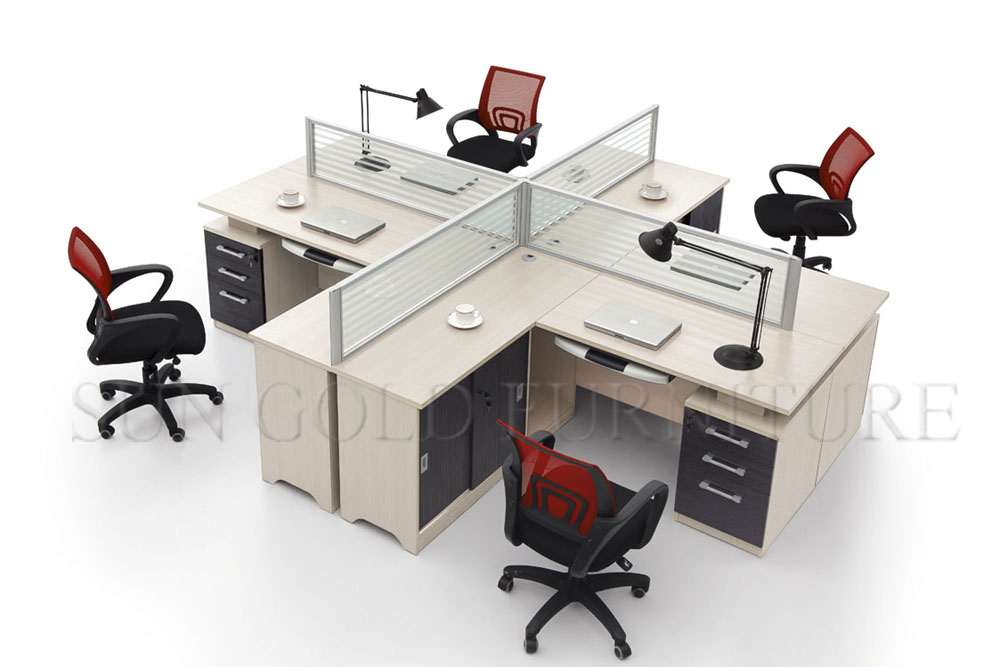 High quality 4 person aluminum partition office cubicle for Muebles de oficina 3d model